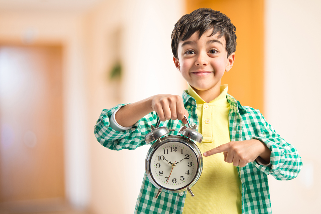 Child telling time